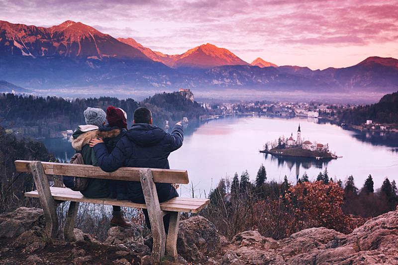 湖,布雷得,斯洛文尼亚,欧洲,商务旅行,家庭,青少年,旅行者,男性