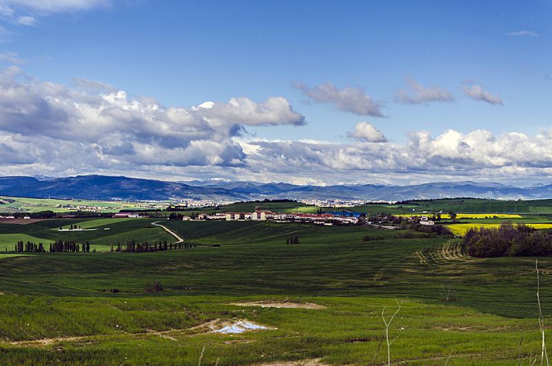田地,风景,天空,美,水平画幅,山,早晨,夏天,户外,生长