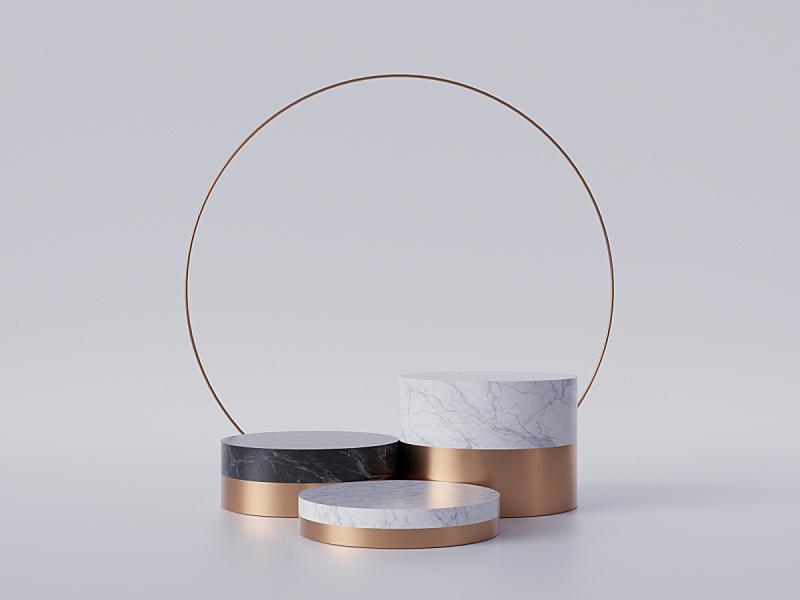 华贵,圆柱体,三维图形,白色,概念,底座,大理石装饰效果,极简构图,黄金,抽象