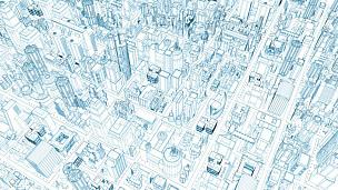 城市,未来,条纹,技术,从容态度,背景,三维图形,草图,建筑,高处