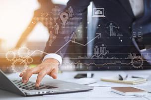 男商人,商务,显示器,笔记本电脑,策略,未来,智慧,顾客,忙碌,图形界面