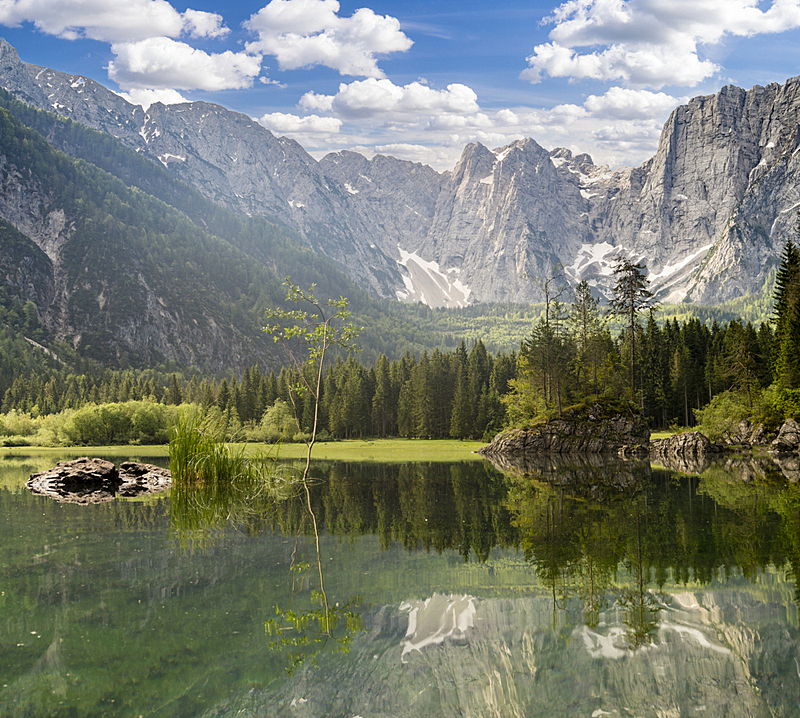 julian alps,早晨,湖,山,意大利,苏打,水,天空,水平画幅,户外