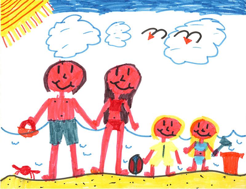 海滩,幸福,家庭,绘画插图,天空,艺术,水平画幅,沙子,艺术品,夏天