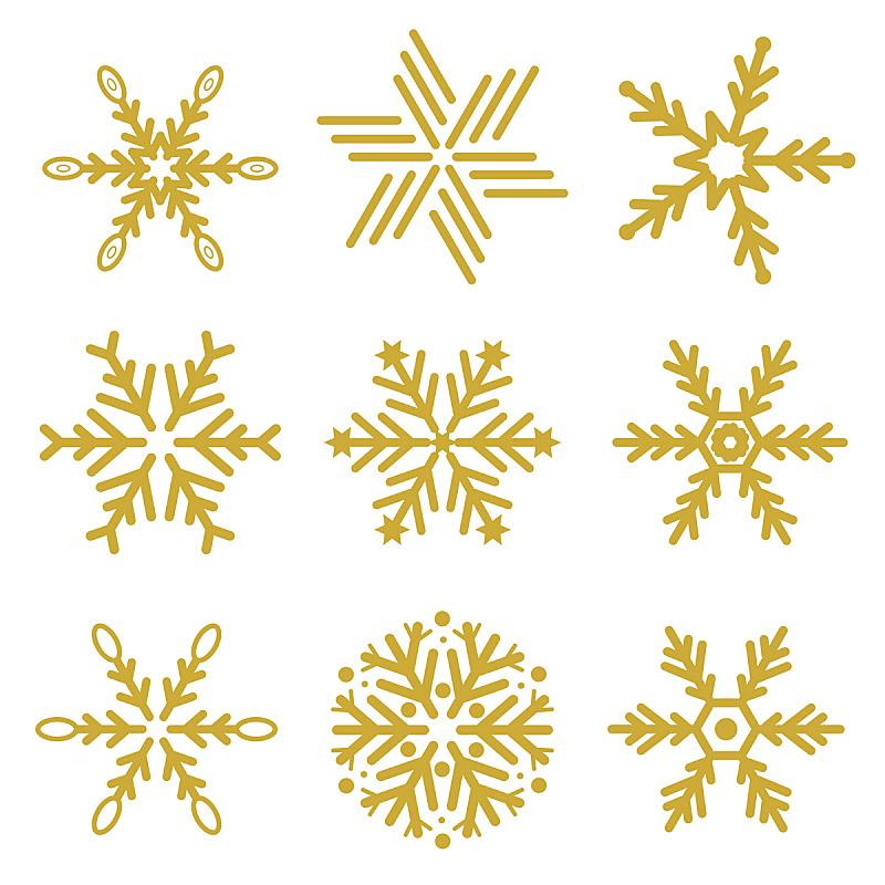 雪花,矢量,黄金,贺卡,新的,纹理效果,雪,绘画插图,文档