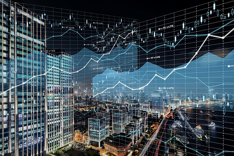 金融,背景,股票行情,天空,水平画幅,高视角,夜晚,智慧,无人,银行帐户