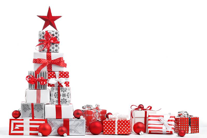 圣诞礼物,水平画幅,纺织品,银色,无人,蝴蝶结,圣诞树,图像,白色