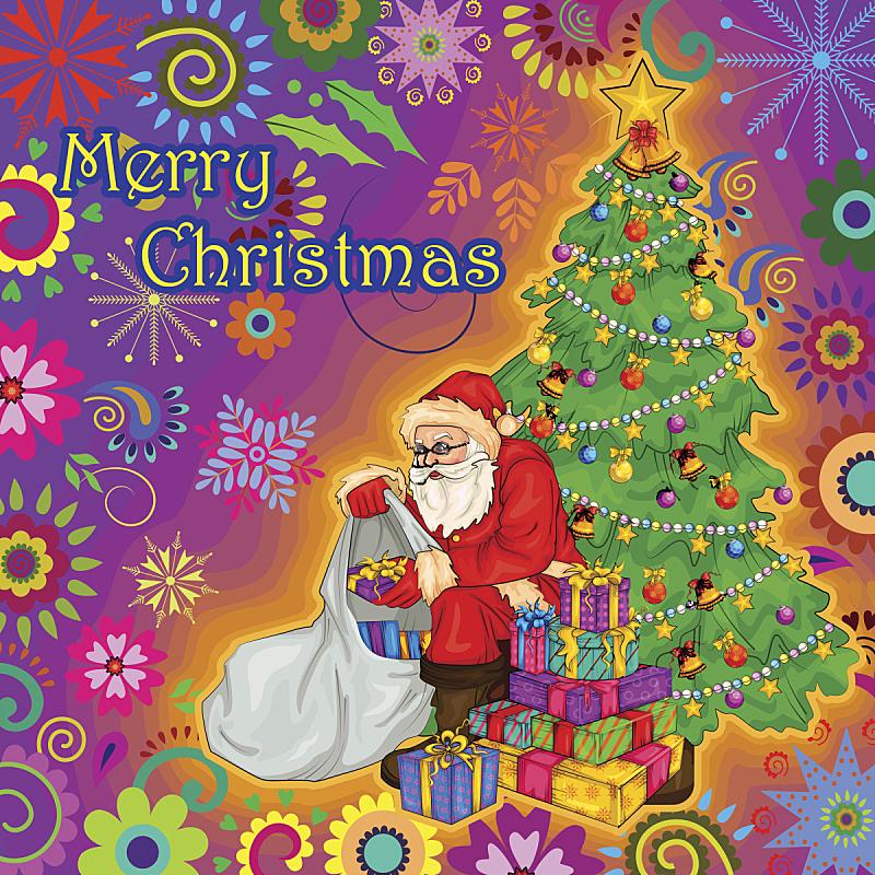 礼物,背景,圣诞老公,旋转类游乐,绘画插图,圣诞老人,圣诞树,明信片,冬天