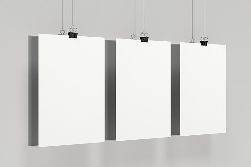 白色,空白的,装订夹,三个物体,白色背景,水平画幅,无人,绘画插图,书页