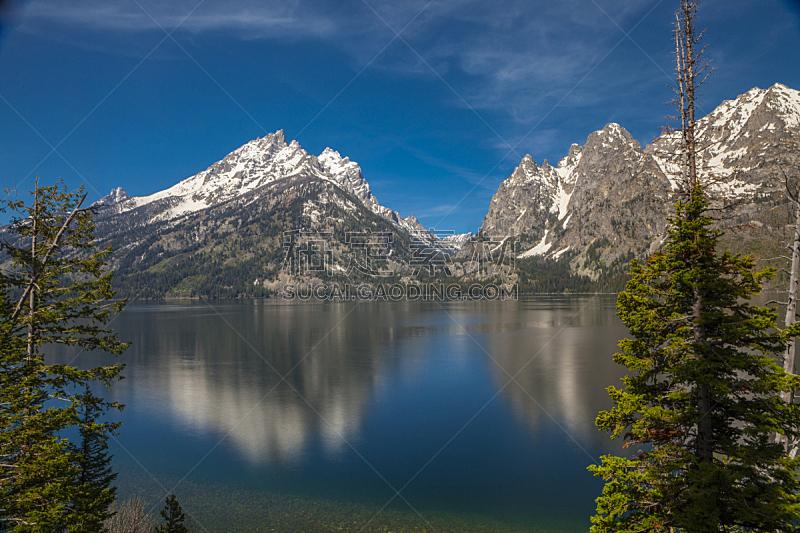 水平画幅,山,无人,怀俄明,户外,湖,山脉,摄影