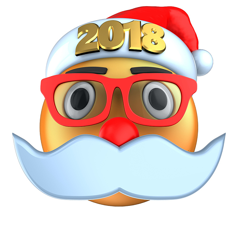 表情符号,橙色,2018,帽子,三维图形,圣诞帽,络腮胡子,无人,绘画插图