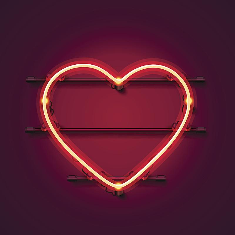 霓虹灯,心型,红色背景,布告,活力,暗色,一个物体,背景分离,浪漫,环境