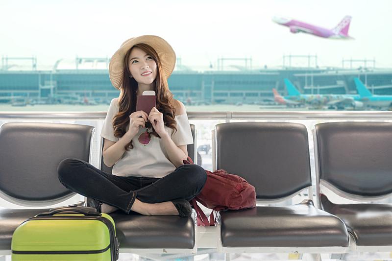 机场,等,学生,幸福,青少年,概念,亚洲,可爱的,旅行,飞