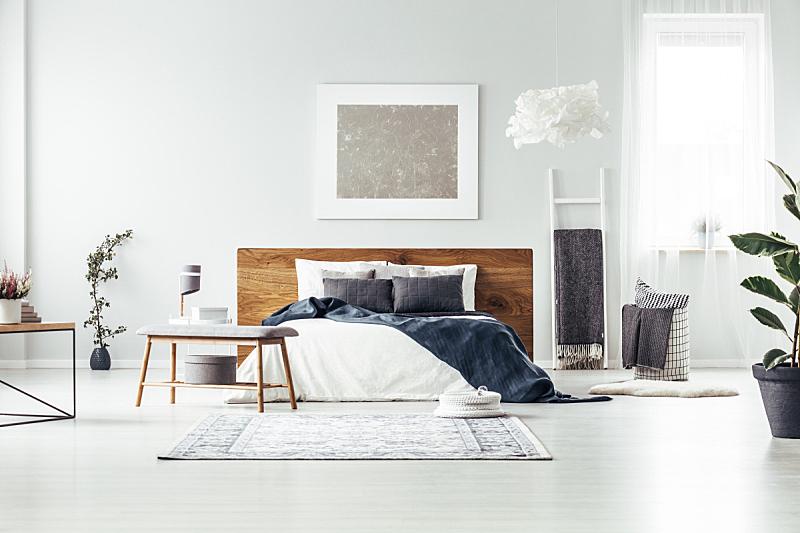 卧室,银,宽的,留白,纺织品,家庭生活,灯,家具,明亮,居住区