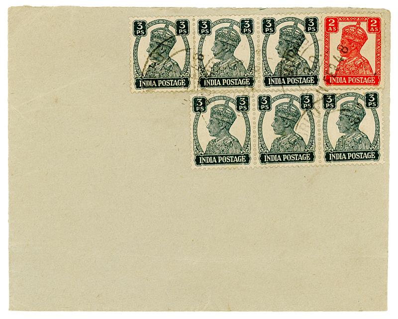 1948,信封,印度,航空邮件,1940年至1949年,邮戳,过时的,空的,背景分离,信函