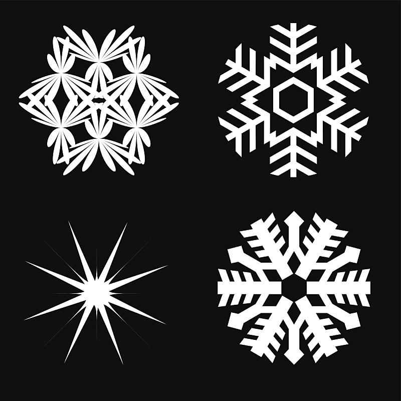 雪花,矢量,水平画幅,形状,雪,无人,绘画插图,图像