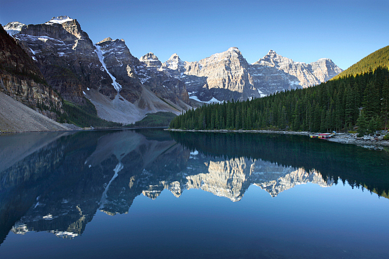 梦莲湖,早晨,十峰谷,阿尔伯塔省,洛矶山脉,班夫国家公园,加拿大落基山脉,水平画幅,地形,无人