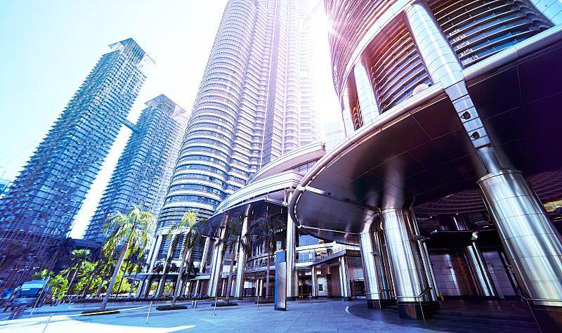 马来西亚,吉隆坡,现代,钢铁,摩天大楼,角度,都市风景,低的,办公室,未来