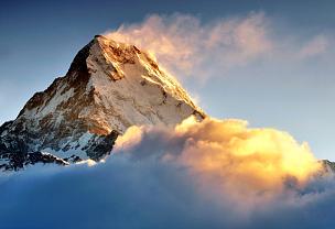 安纳普纳生态保护区,喜马拉雅山脉,雪山,鱼尾峰,山,在上面,安娜普娜山脉群峰,高大的,高处,山顶