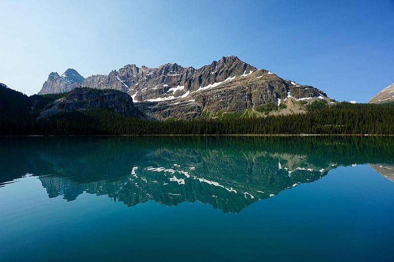 奥哈拉湖,幽鹤国家公园,山脊,加拿大落基山脉,洛矶山脉,水平画幅,绿色,无人,蓝色,户外