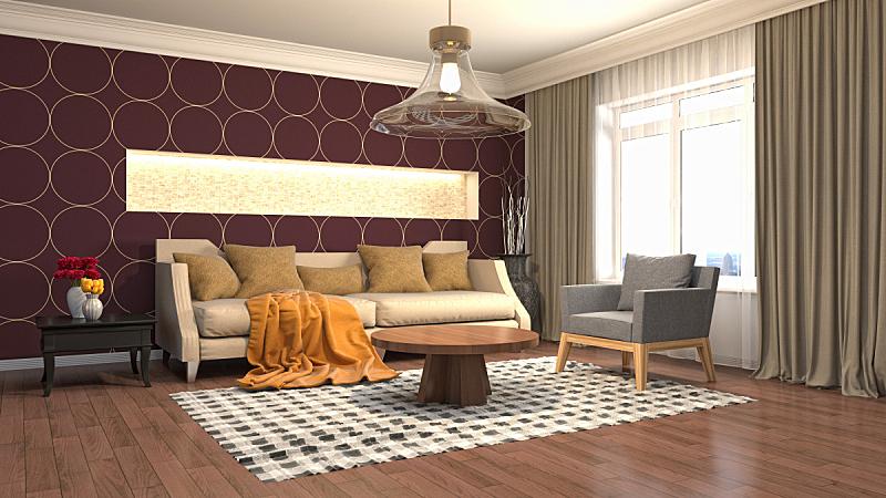 绘画插图,室内,起居室,三维图形,褐色,座位,桌子,水平画幅,无人,装饰物