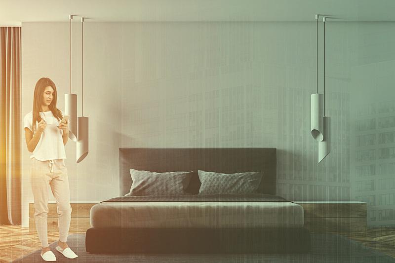 华贵,女人,室内,卧室,白色,舒服,床,现代,床上用品,建筑