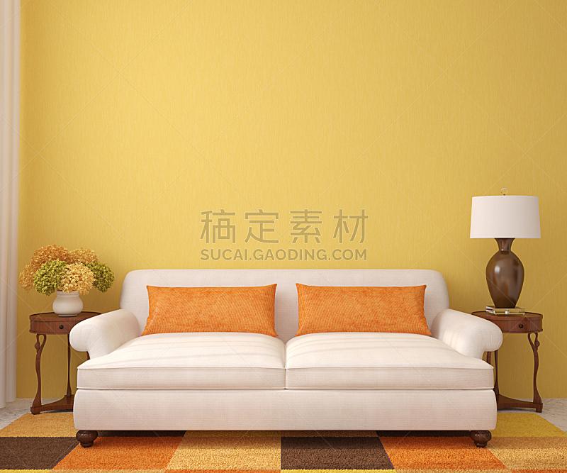 沙发,白色,起居室,极简构图,热,小毯子,正面视角,褐色,座位,水平画幅