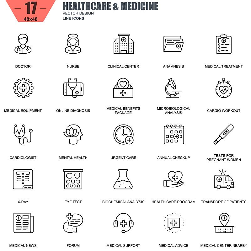 细的,健康保健,线条,计算机图标,心脏病专家,绘画插图,符号,组物体,待遇