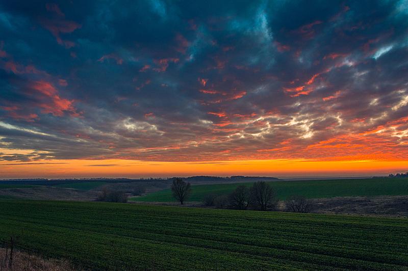 天空,早晨,自然,草地,水平画幅,绿色,橙色,云,地形,无人