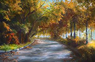 秋天,巷,森林,画布,沥青,水彩画颜料,美术工艺,小路,树干