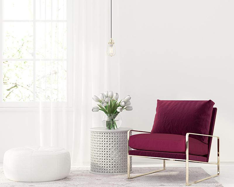 扶手椅,红色,白色,室内,天鹅绒,水晶吊灯,小毯子,地毯,椅子