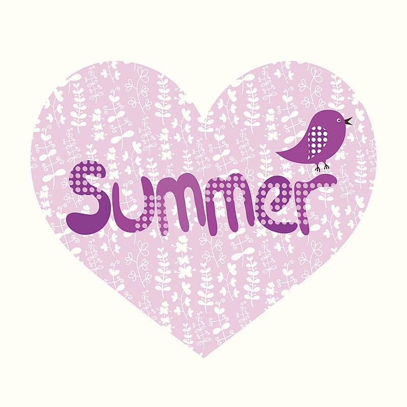 鸟类,夏天,绘画插图,心型,可爱的,美术工艺,浪漫,仅一朵花,壁纸,装饰物