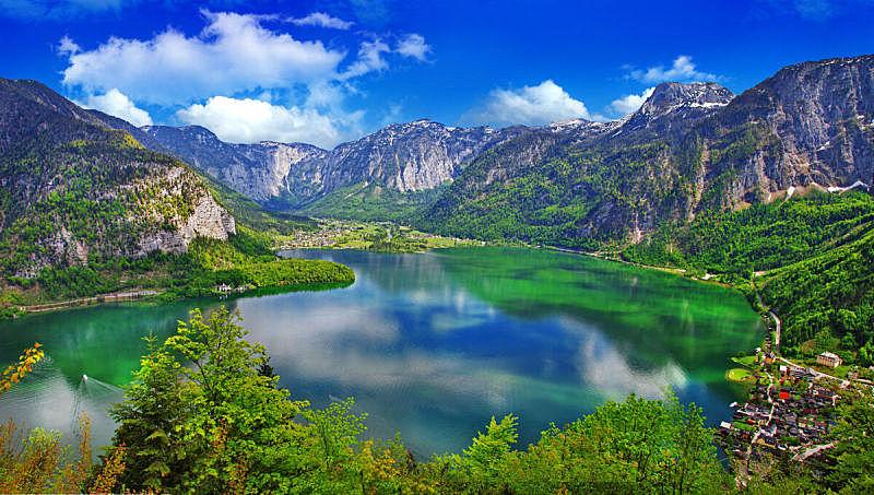 哈尔施塔特,湖,奥地利,阿尔卑斯山脉,哈尔施塔特湖,达特施泰因山脉,萨尔茨卡默古特,上奥地利州,公园,水平画幅