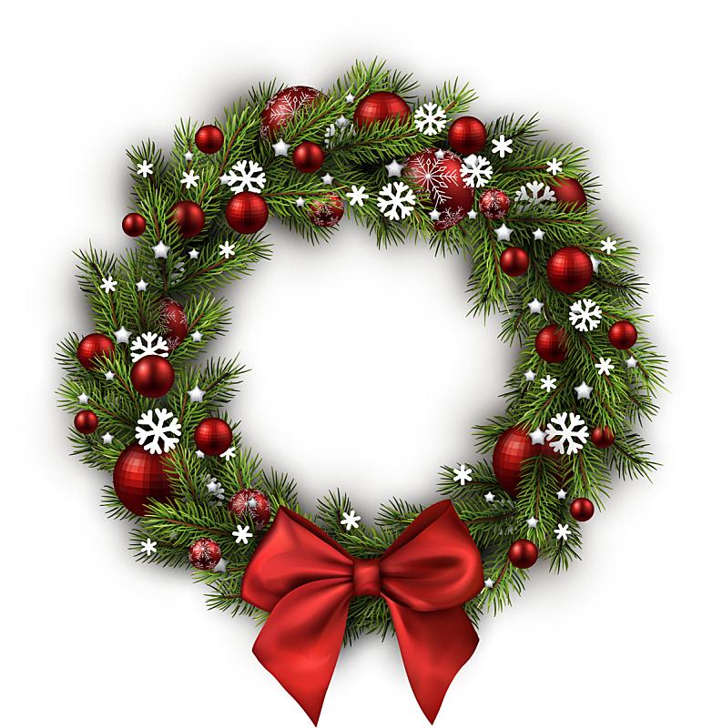 白色,花环,分离着色,垂直画幅,雪,无人,蝴蝶结,绘画插图,圣诞树