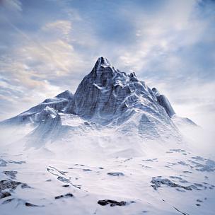 山顶,都市风光,天空,云,山,雪,无人,绘画插图,纯净,户外