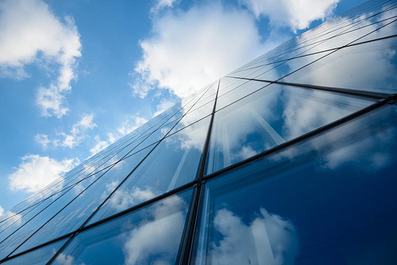 摩天大楼,办公楼外观,天空,外立面,水平画幅,无人,玻璃,透视图,几何形状,户外