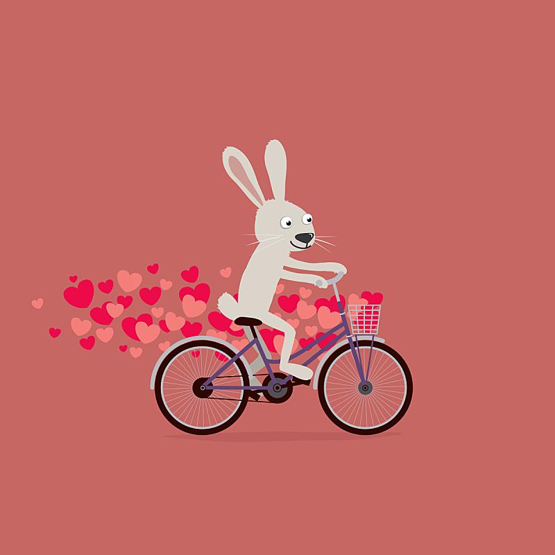 兔子,情人节卡,骑自行车,可爱的,卡通,动物心脏,情人节,自行车篮子,动物,飙摩托车者
