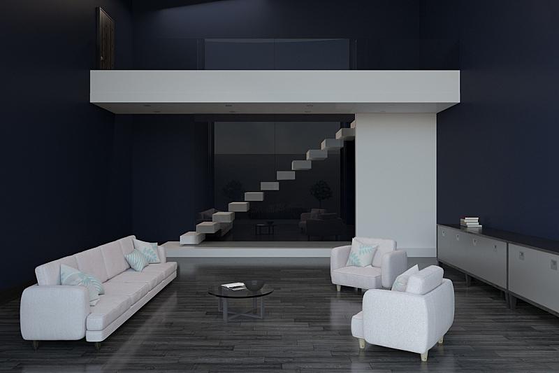 现代,住宅房间,河岸,块状,白色,空的,华贵,全球通讯,沙发,装饰物