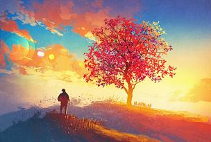 地形,秋天,山,天空,纹理效果,绘画插图,明亮,想法,彩色图片
