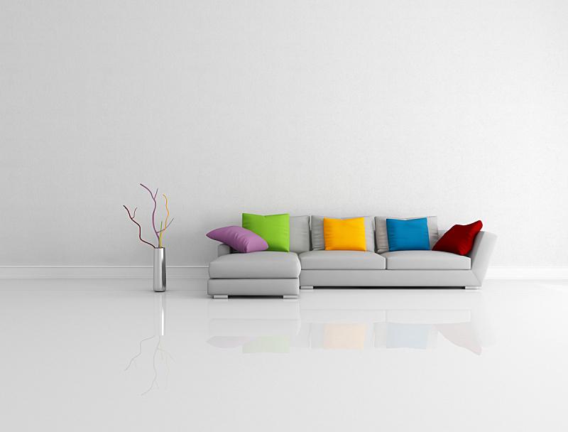 明亮,起居室,极简构图,水平画幅,墙,无人,家具,居住区,现代,沙发