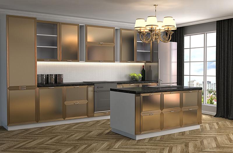 室内,三维图形,绘画插图,厨房,窗户,住宅房间,水平画幅,形状,建筑,木制