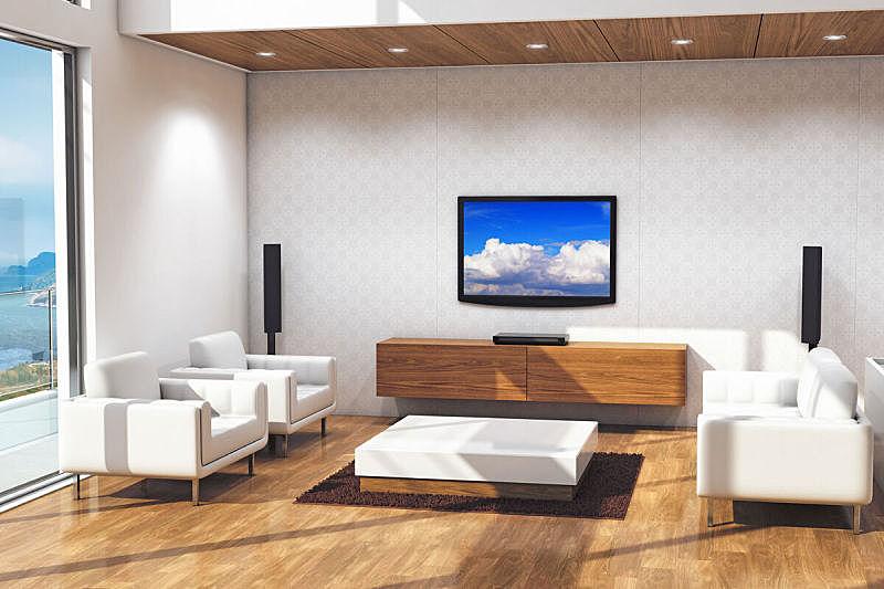 起居室,极简构图,家庭影院,无人,电视机,沙发,窗户,住宅内部,室内