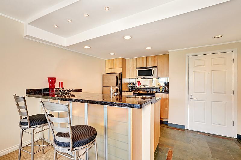 西雅图,公寓,室内,厨房,小的,易接近性,冰箱,窗户,住宅房间,水平画幅
