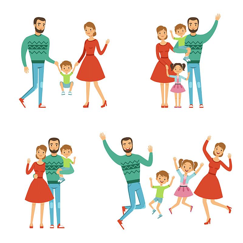 性格,母亲,儿童,矢量,幸福,时尚,家庭,父亲,父母,绘画插图