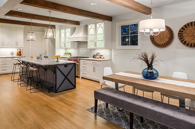 硬木,华贵,住宅内部,现代,项坠,厨房,陈列柜,饭厅,路灯,自然美