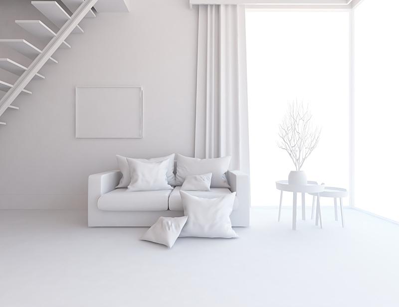 窗户,住宅内部,白色,室内,住宅房间,三维图形,巨大的,绘画插图