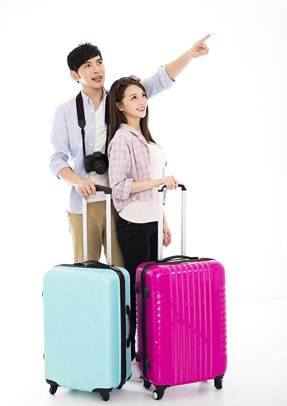 手提箱,快乐,青年伴侣,异性恋,亚洲人,伴侣,女朋友,男朋友,旅途,行李