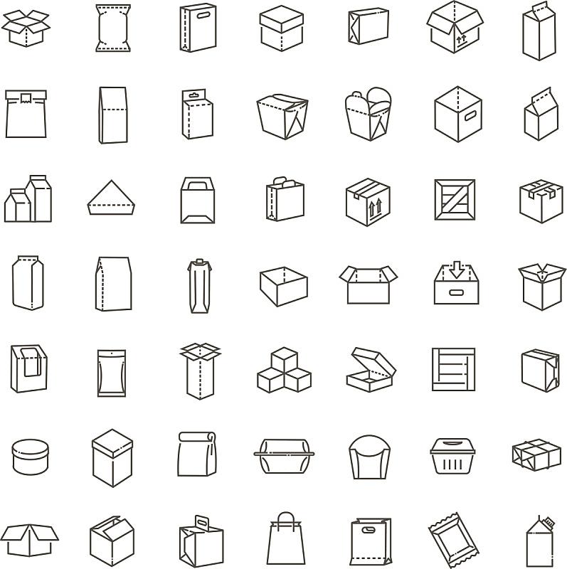 矢量,细的,线条,图标集,字体,垂直画幅,绘画插图,盒子,商店,饮料