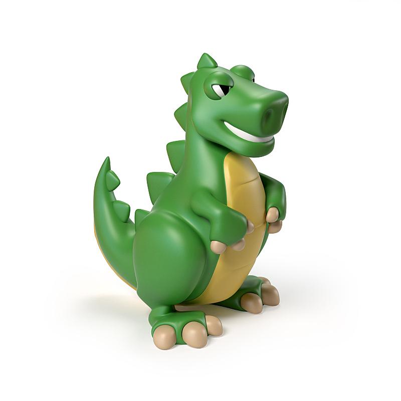 绘画插图,恐龙,三维图形,霸王龙,绿色,白色背景,玩具,分离着色,进行中,鸟类