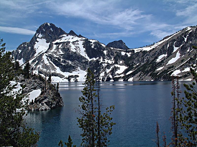 湖,锯齿山脉,数字9,水,天空,水平画幅,雪,无人,户外,干净