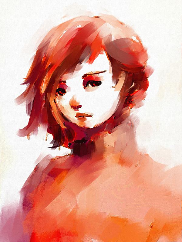 注视镜头,红色,女孩,自然美,数字化显示,垂直画幅,青少年,贺卡,纹理效果